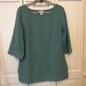 Soft Surroundings Lagenlook Gauze Tunic Moss Green